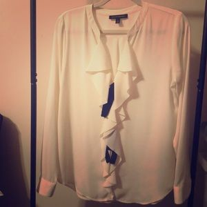 Banana Republic Ivory Blouse with front ruffle